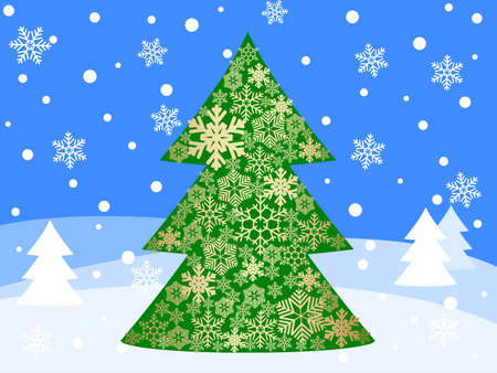 snowy winter landscape with christmas tree Stock Vector - 8316695
