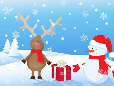 paisaje nevado de Navidad con ciervos, el mu�eco de nieve y el regalo