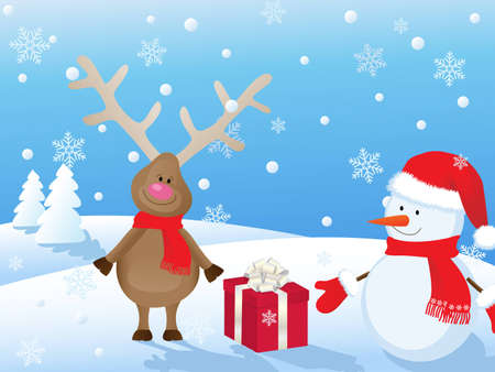 snowy christmas landscape with deer,snowman and gift Vector