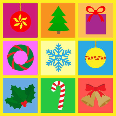 Symbols with a Christmas theme. Vector