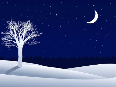 invierno de noche del paisaje con �rbol solitario y de la Media Luna Vectores