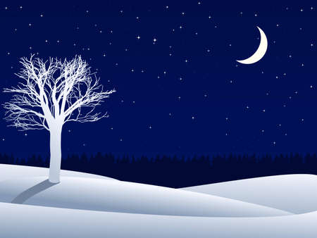 night winter landscape with lonely tree and crescent moon