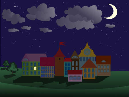 good night: night town scene