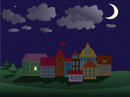 bonsoir: sc�ne de ville de nuit Illustration