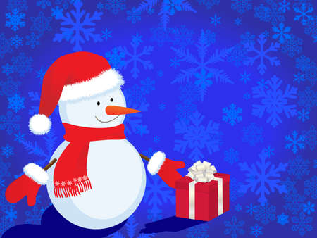 christmas background with snowman Stock Vector - 8316697