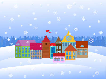 cartoon old town.illustration Vector