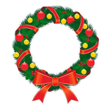 christmas wreath with red bow Stock Vector - 8316702