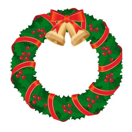 Guirnalda de Navidad con arco rojo