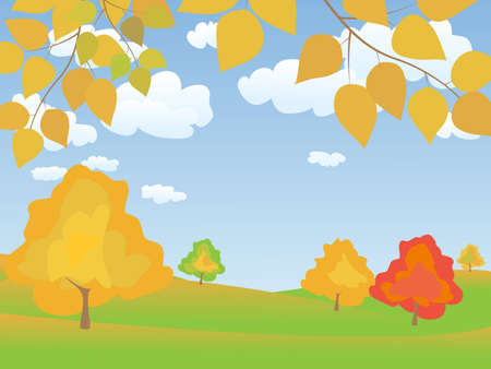 vector autumn tranquil easy landscape