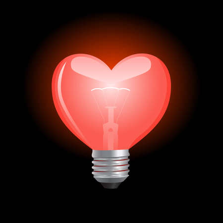 lighting bulb: Bright and glowing heart shaped bulb