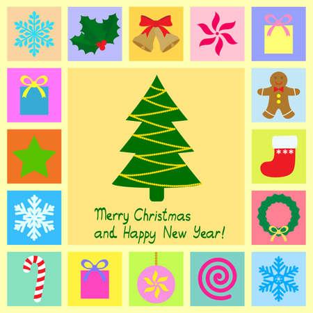 s�mbolos de tema de Navidad Vectores