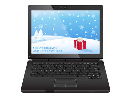 black laptop with christmas illustration Vector