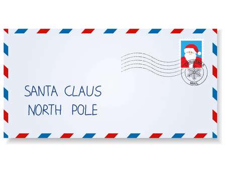 sobres para carta: Carta a santa claus con sellos y marcas de franqueo