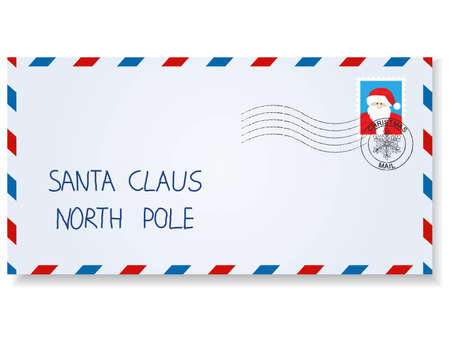 letter to santa claus with stamps and postage  marks Stock Vector - 9041722
