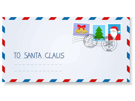 letter to santa claus with stamps and postage  marks Stock Vector - 9041739