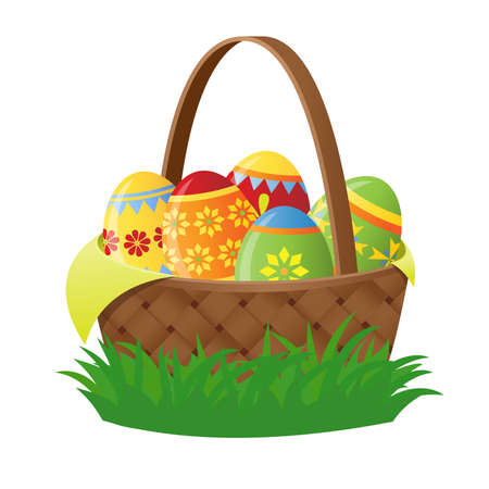 easter basket with eggs Stock Vector - 9041741