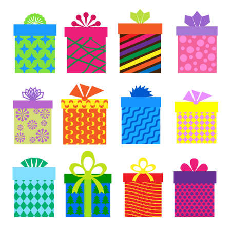 conjunto de cajas de regalos con patr�n diferente Vectores
