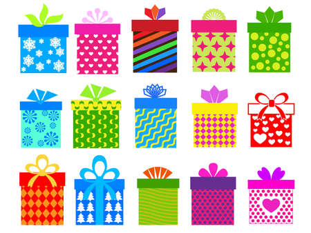 gift boxes set with different  pattern Vector