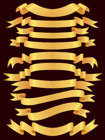 banner orizzontali: set di banner oro  Vettoriali