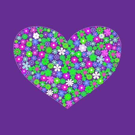 heart shape of flowers Stock Vector - 9041737