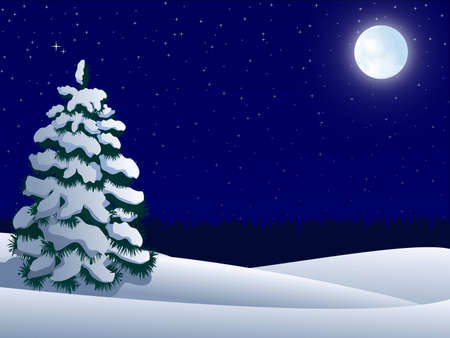 night winter landscape with lonely tree and  moon