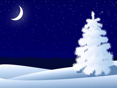panoramic sky: night winter landscape with lonely tree and crescent moon