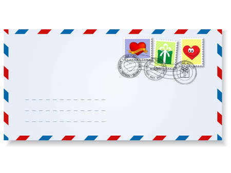 letter to st.valentines day  with stamps and postage  marks