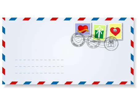 post stamp: lettera al giorno di st.valentine con francobolli e segni di affrancatura