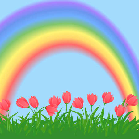 horisontal spring flowers and grass illustration with rainbow Illustration