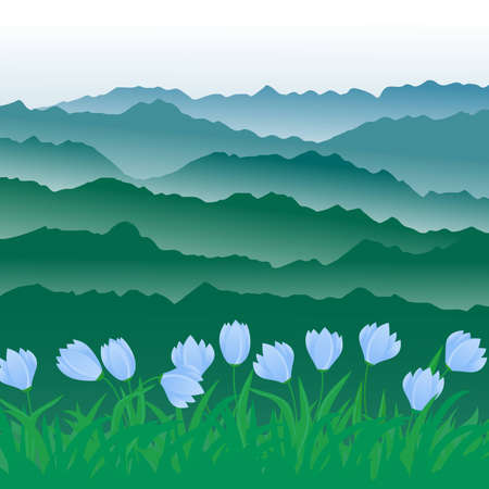 tulips in green grass: panorama of mountains. Illustration