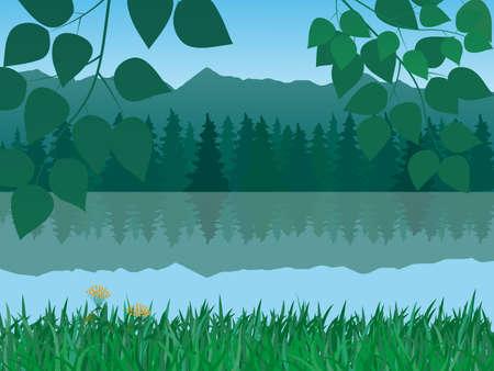 montañas y paisaje del lago Ilustración de vector