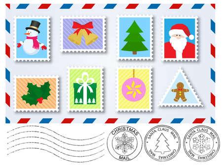 happy new year stamp: franqueo y sellos de elementos de decoraci�n marca por carta a santa claus  Vectores