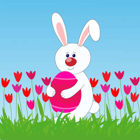 rabbit holding easter egg   on the lawn Vector