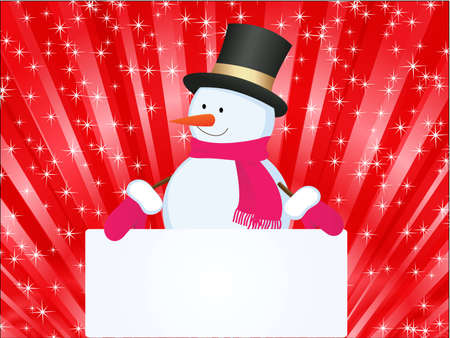 christmas background with snowman Stock Vector - 9041808
