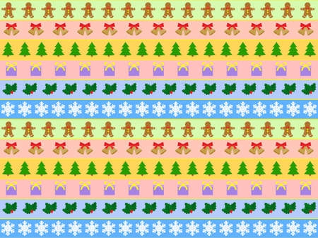 seamless horizontal  pattern of christmas symbols Stock Vector - 9041791