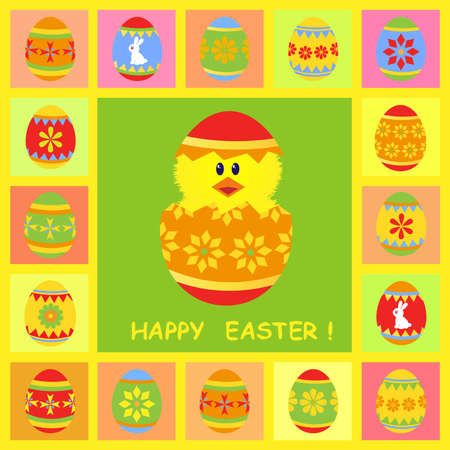 easter card with chick Vector
