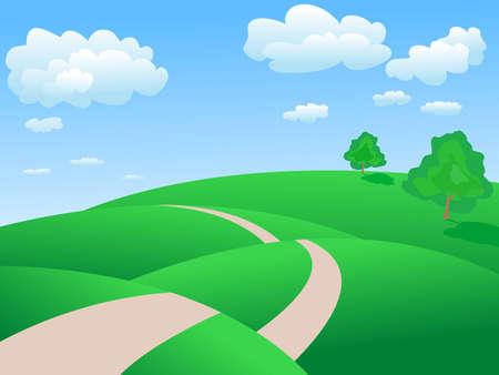 beaux paysages: paysage de printemps calme et paisible Illustration