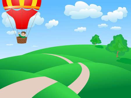 Man vliegen in een ballon Stockfoto - 9874093