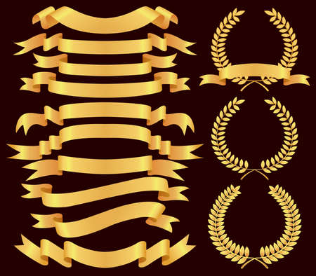 scroll up: gold  banner and laurel wreath  set