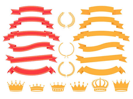 gold and red banners, laurels, wreaths and crown set  Stock Photo