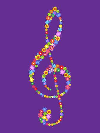 treble g clef:  treble clef of flowers