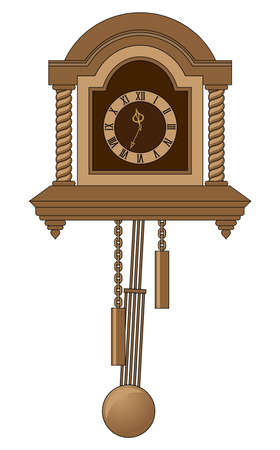 antiquarian  clock with a pendulum  photo