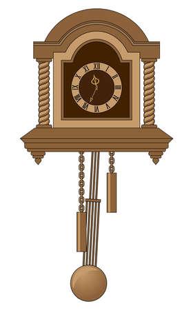 antiquarian  clock with a pendulum  photo