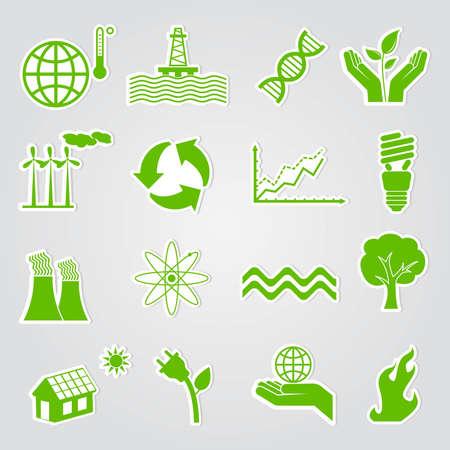 calentamiento global: Conjunto de iconos de Ecolog�a y conservaci�n de tierra Foto de archivo