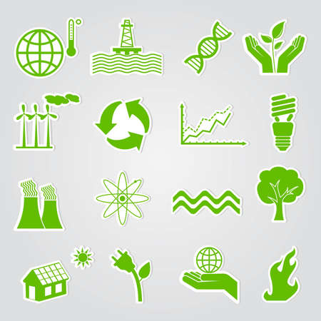 warming: Earth conservation and ecology icon set