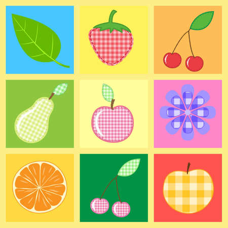 sewing  fruits and  berries of checkered fabric Stock Photo