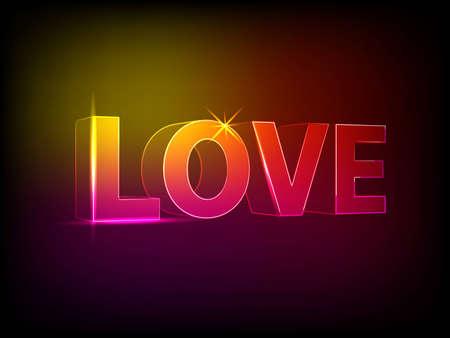 the word love on dark background photo