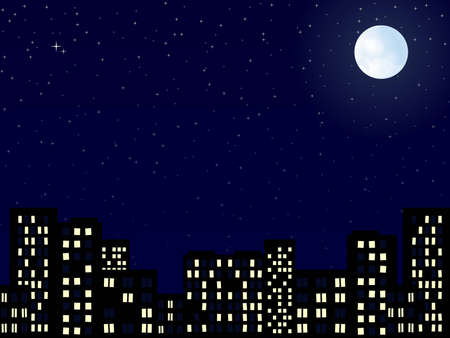 moon  metropolis: night scenery of building city with moon Stock Photo