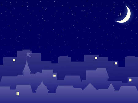 escenograf�a de noche de construcci�n de ciudad con Luna Foto de archivo