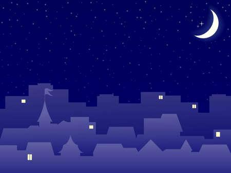 buonanotte: scenario serale di costruzione di citt? con luna Archivio Fotografico